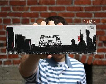 Portland Oregon Skyline Canvas Acrylic Painting