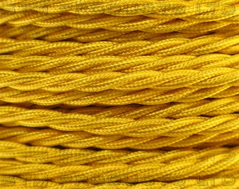 1m Vintage Yellow Braided TWISTED Fabric Cable Lighting Flex. 3 Core 3 Amps.