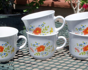 Corelle Wildflower Set of 4 Mugs Plus Creamer