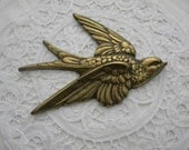 Vintage Swallow Brass Bird In Flight, Wall Art, Shabby Chic, Rustic French Country Style, Super Cute, Original Hook, Excellent Condition