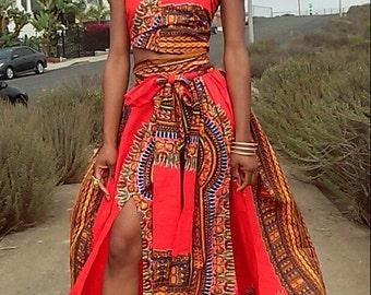 Orange Dashiki Print Skirt Set