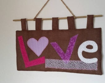 Hessian appliqué LOVE wall hanging