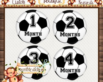 Soccer Balls Monthly Baby Milestone Stickers Baby Boy Baby Shower Gift Bodysuit Baby Stickers Monthly Baby Stickers Baby Month Sticker {M18}