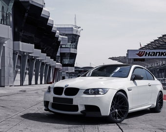 Poster of BMW E92 M3 White Left Front HRE P40 Wheels HD Print