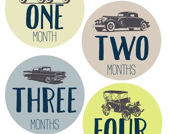 PRINTABLE Vintage Cars Baby Belly Stickers. Baby Monthly Milestone stickers Printable. INSTANT DOWNLOAD.