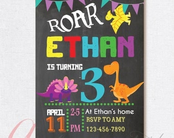 Dinosaur Birthday Party. Dinosaur Party Boy Birthday Party Invitation. Dino Birthday Chalkboard Invitation