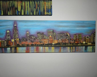 Beautiful Chicago Skyline oil painting
