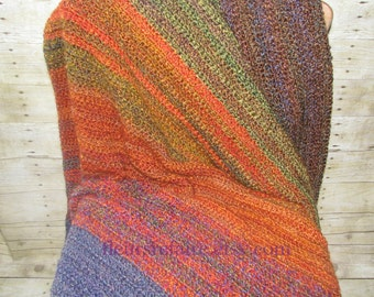 Crocheted blanket in soft yarn custom colors made to order