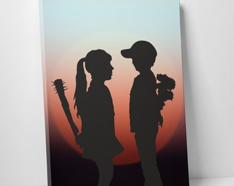 Banksy Girl Meets Boy Sunset Gallery Wrapped Canvas Print. BONUS WALL DECAL!