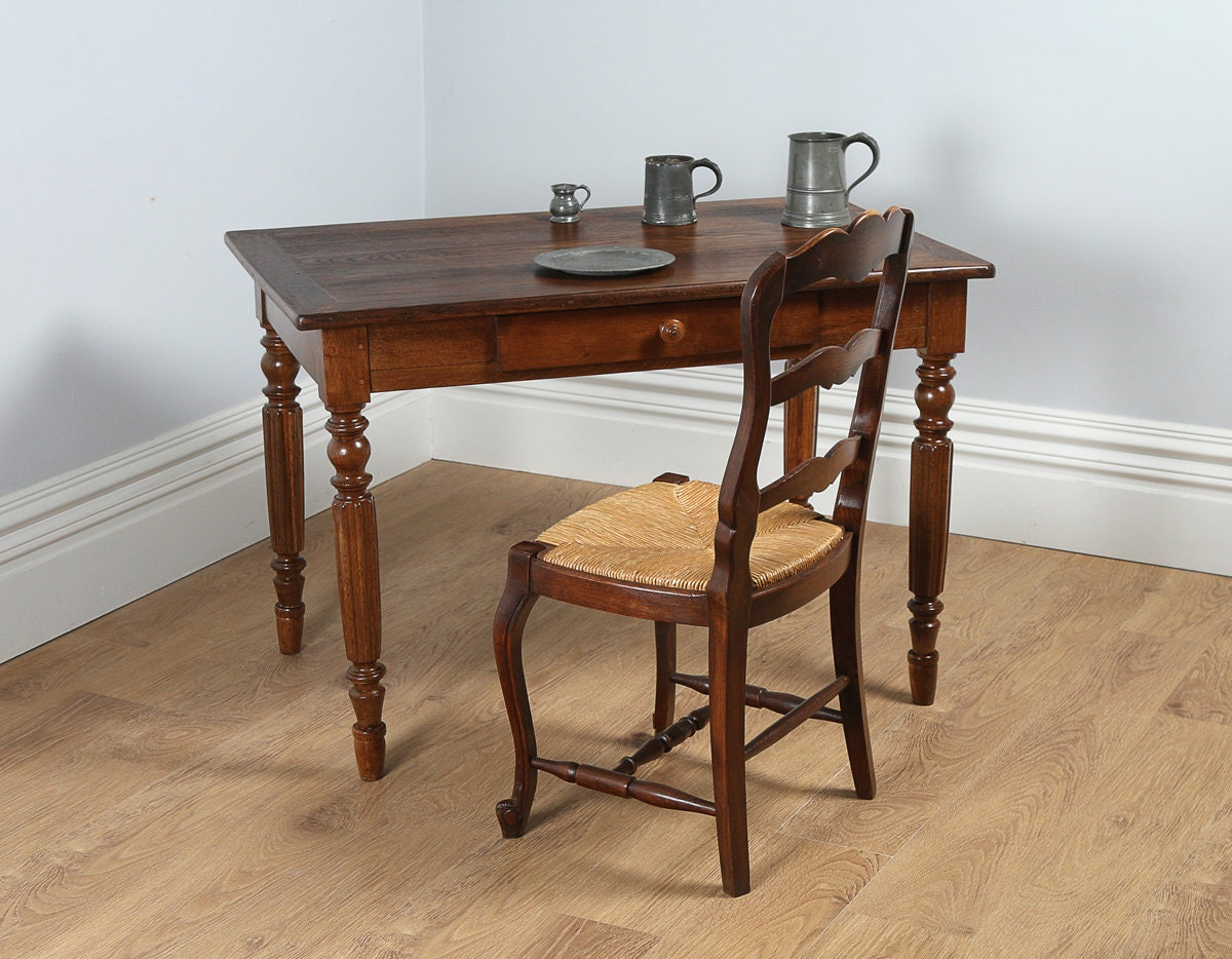 Antique french chestnut provincial side small refectory - Petite table haute ...