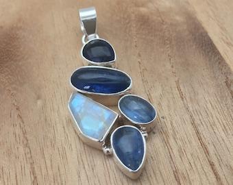 Multi-Stone Kyanite, Iolite and Moonstone Pendant  // 925 Sterling Silver