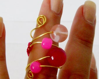 Pink Swirled Wire Wrapped Ring