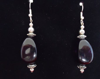 Black Oval Acrylic and Silver Metal Earrings