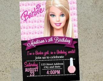 Barbie Birthday Invitation Barbie Invitation Barbie Invite Free Thank you Card Included
