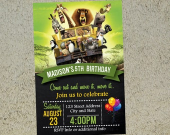 Madagascar Birthday Invitation Madagascar Invitation Madagascar Invite Free Thank you Card Included