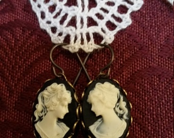 Black Background Cameo Lady Earrings with Dangles