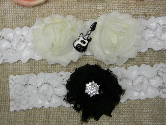 Guitar Wedding Garter Set Ivory And Black