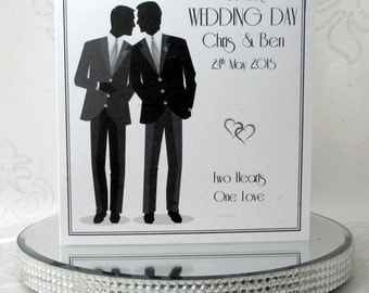 Luxury Handmade Personalised Gay Wedding Card Male Wedding Civil Partnership made using genuine Swarovski Crystals Plus FREE UK DELIVERY!