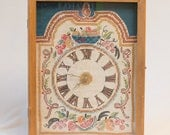 "1960s Hand Embroidered Clock in a Wooden Case with Glass Front - 17"" x 13.5"" x 3.5"""