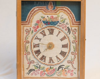 """1960s Hand Embroidered Clock in a Wooden Case with Glass Front - 17"""" x 13.5"""" x 3.5"""""""