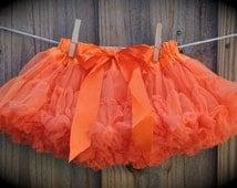 Baby Girl RufflesTutu Pettiskirt in Orange. Orange Pettiskirt. Ready to Ship.