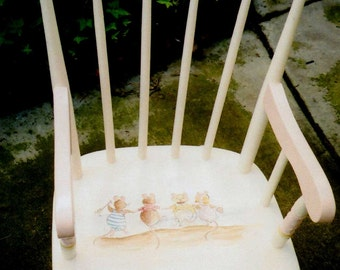 Beach Rocking Chair, hand painted rocker, brambly mice