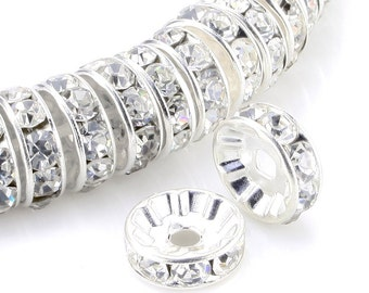 100 Clear Crystal Rondelle Beads; Silver Plated Crystal Rondelle Spacer Beads 10mm