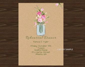 Printable Mason Jar Invitation Kraft Background | Rehearsal |General Invitation | Editable Invitation Template | Instant Download