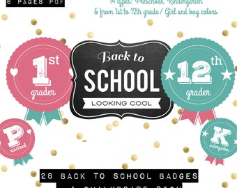 28 Back to school badges 1st day of school photo signs photobooth props + 1 chalkboard sign pdf / instant download
