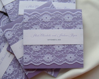 Rustic Wedding Invitation, Lace Wedding Invitation, Purple Wedding Invitation