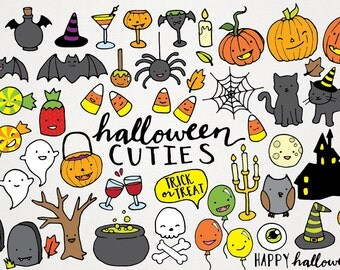 Cute Halloween Clipart - hand drawn halloween clip art, halloween party diy, halloween illustration, instant download, printable halloween