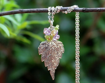 Leaf Pendant Necklace.Multi Gemstones.Sterling Silver Chain.Statement.Dainty.Amethyst.Peridot.Citrine.Cluster.Bridal.Mother's.Gift.Handmade.