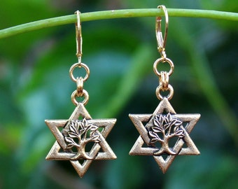 Star of David Dangle earrings.Tree of Life.Metal plated in 24 karat gold.Silver.Drop Earrings.Judaica.Hanukkah. Bat-Mitzvah.Gift. Handmade.