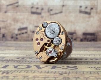 Enicar Watch Movement, Silver Tie Tack, Enicar Tie Tack, Steampunk Tie Tack, Lapel Pin, Enicar Lapel Pin, Silver Tie Tack, Tie Tack,