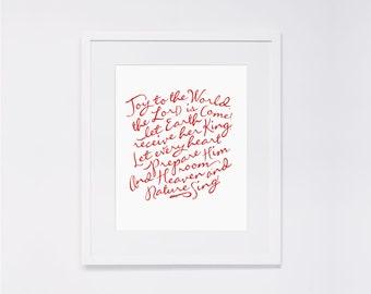 "Joy to the World  |  8x10"" Calligraphy Print (Digital Download), Hymn Art Print, Hymn Print, Christmas Decor, Home Decor, Hostess Gift"