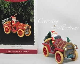 1995 Hallmark Here Comes Santa Keepsake Ornament Santa's Roadster #17 in Series Holidays Santa Claus MIB