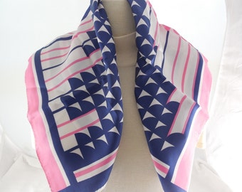 """Vintage Pink & Blue Abstract Pattern Scarf 23"""" x 23"""""""