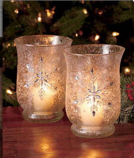 Hurricane candle holders votive candle frosted christmas for Christmas pillar candle holders