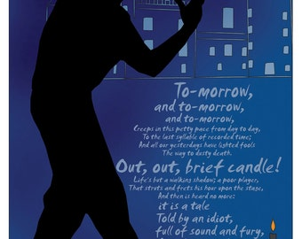 Brief Candle - Macbeth. Quotable Shakespeare Literary Art Print.  Educational Classroom Poster