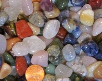 "Random Lots of Tumbled Stones-  ""All Sorts"" mix in a variety of sizes, shapes, & types of stone- Lots from 1/2 lb/ pound to 2 lbs/ pounds"