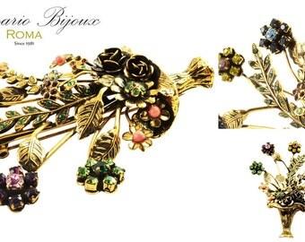 Gold brooch with cabochon and Swarovski crystals. - Sancesario Bijoux - code.art. SP-1002