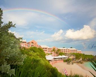 Rainbow Luck ~ The Reefs Club & Resort, Bermuda, Rainbow, Beach, Photography, Wedding, Honeymoon, Photograph, Pink Sand, Artwork, Tropical