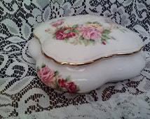 Handpainted Jammet Seignolles Limoges French Porcelain Dresser Box with Rose Decor Trinket Keeper Powder Box France Red Pink & Yellow Roses