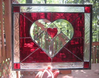 TRUE LOVE 1 stained glass panel window newly created