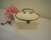 Elegant French Art Nouveau Porcelain Jewelry Casket.  Porcelain Jewel Box. Ivory Porcelain Trinket Box.