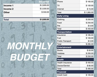 Monthly Budget - Easy Editable Monthly Budget