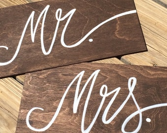 """Wooden Wedding Chair Signs- """"Mr"""" and """"Mrs"""""""