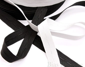 25 Yards of Woven Buttonhole Elastic, Black and White