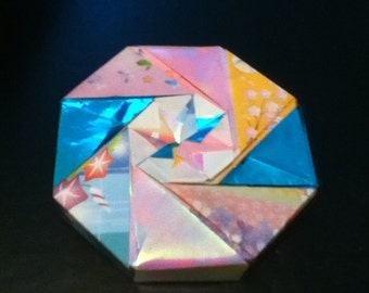 Iridescent Pink and Blue Origami Box