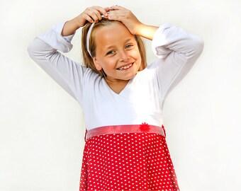 Red and white girls dress - long sleeve dress for girls - toddler girl birthday dress